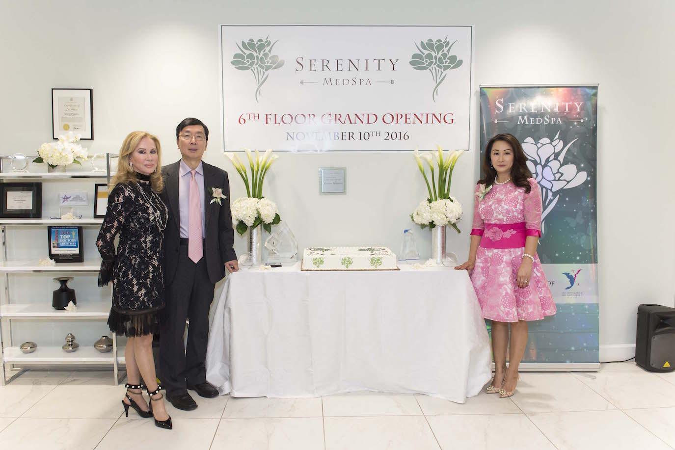Sophie Azouaou, David Kang and Lisa Kang at the opening of the 6th floor