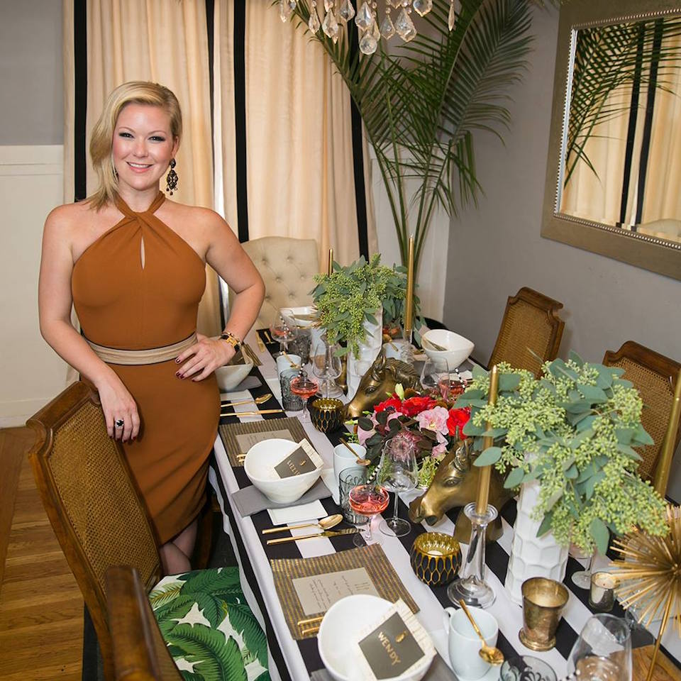 Liz Curtis and one of her beautiful tablescapes