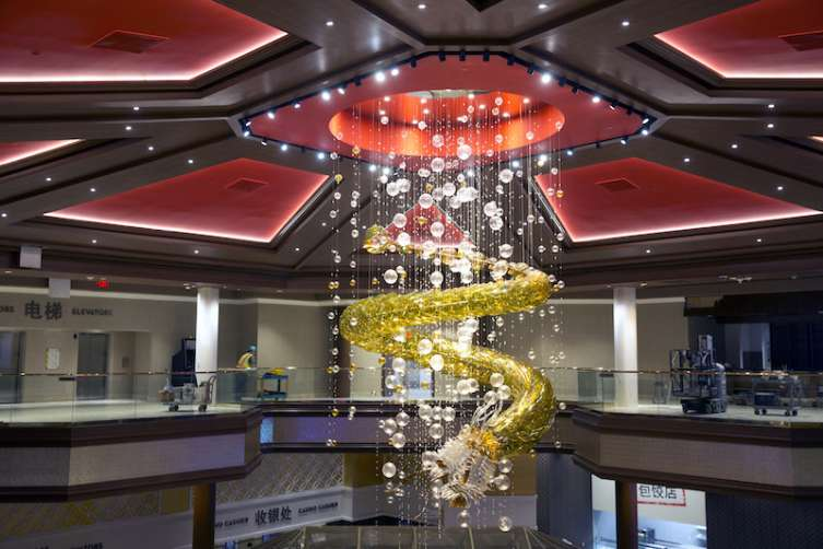 A dragon chandelier hangs over the casino floor at the Lucky Dragon hotel-casino under construction on Sahara Avenue near Las Vegas Boulevard South.