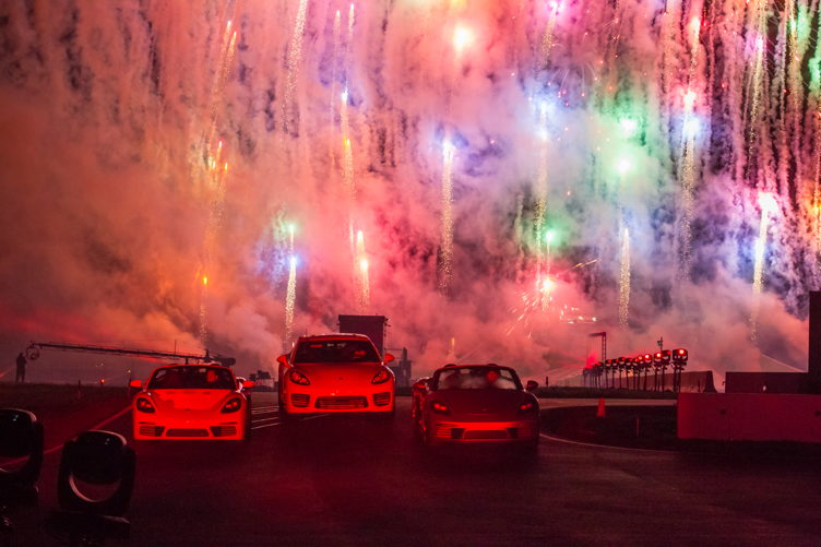 Fireworks at the Porsche Experience Center opening