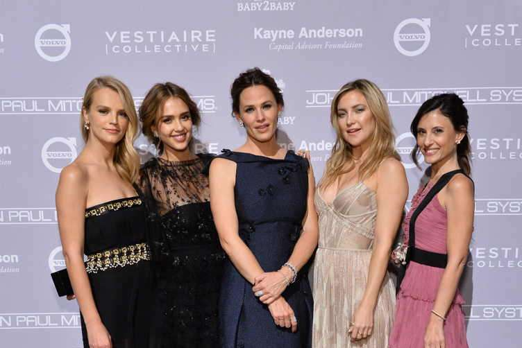 Co-president of Baby2Baby Kelly Sawyer Patricof, founder, The Honest Company, Jessica Alba, actors Jennifer Garner and Kate Hudson and co-president of Baby2Baby Norah Weinstein
