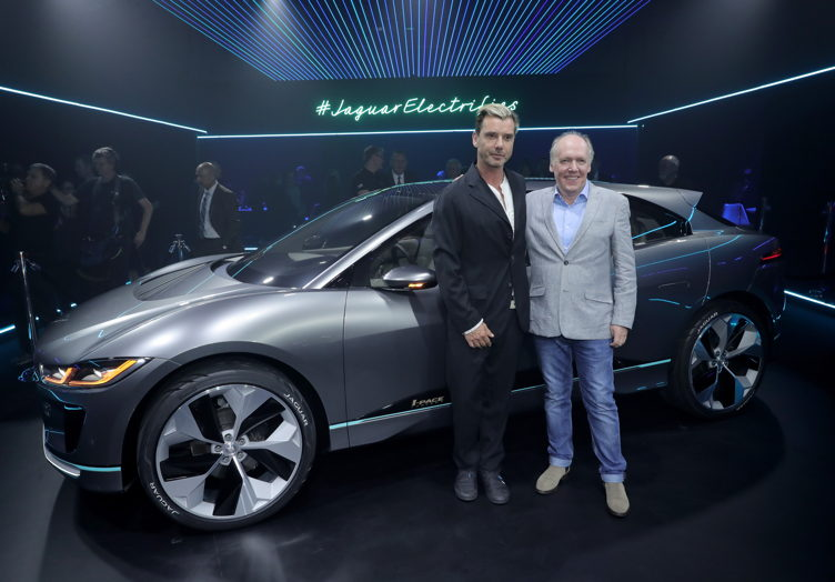 Musician Gavin Rossdale (L) and Jaguar Director of Design Ian Callum pose with the Jaguar I-PACE Concept