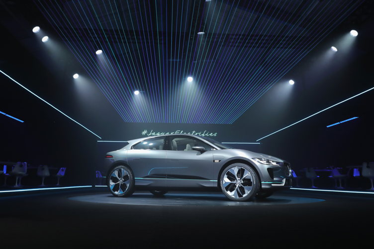 Jaguar revealed its first-ever electric car - the Jaguar I-PACE Concept, during a VIP soiree at Milk Studios on Monday night