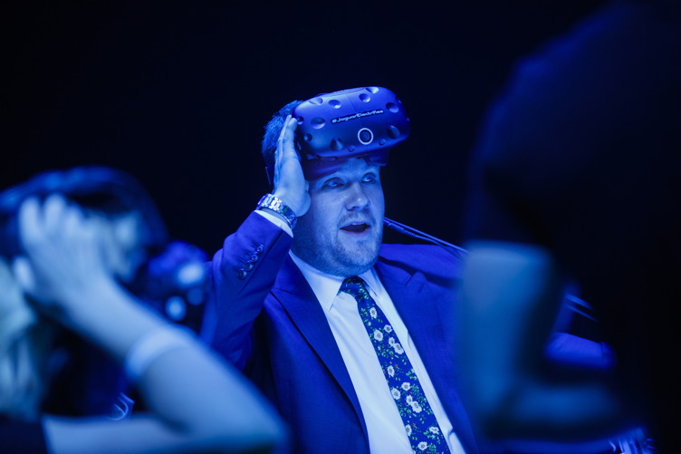 TV host James Cordon was among the first to see Jaguar's electric car, the Jaguar I-PACE Concept. He's seen here trying on virtual reality goggles