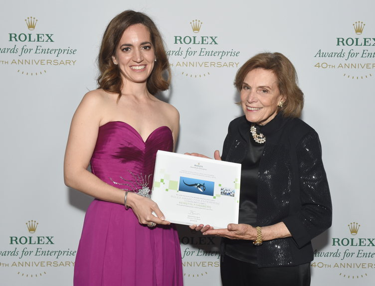 Honoree Kerstin Forsberg (L) and National Geogrphic Explorer-in-Residence/presenter Sylvia Earle