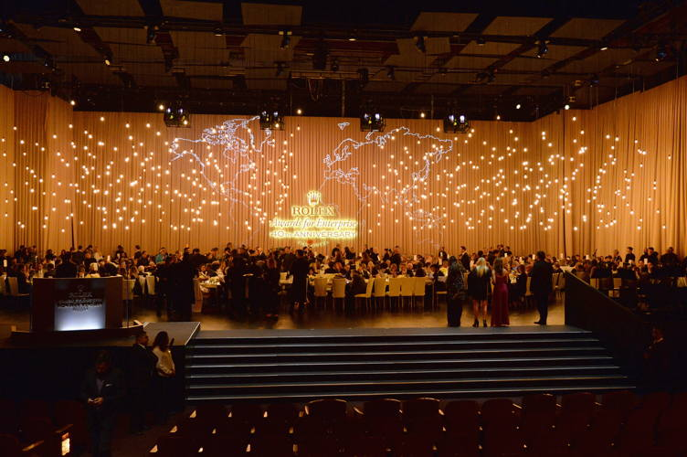 General view of dining room at the 2016 Rolex Awards For Enterprise at the Dolby Theatre