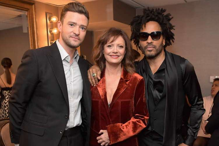 (L-R) Actors Justin Timberlake, Susan Sarandon and Lenny Kravitz