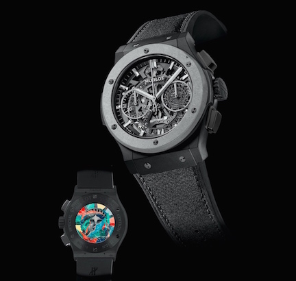 Hublot Special Edition Classic Fusion Aerofusion Concrete Jungle, with revolutionary concrete bezel and Tristan Eaton-designed case back