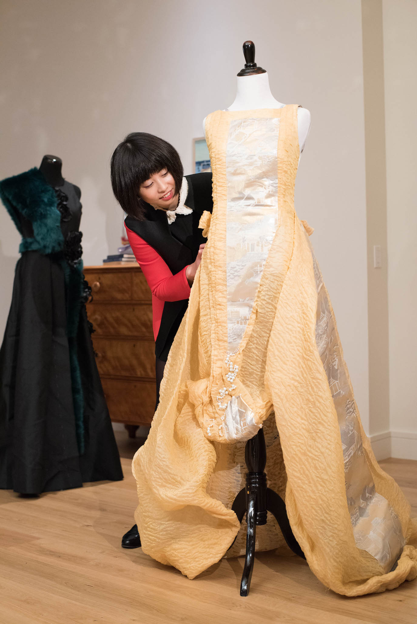 Tokyo Gamine's Yuka Uehara works on a custom dress