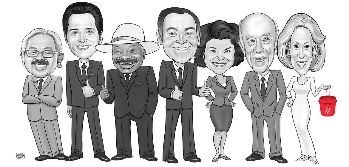 Artist Marcus Sakoda created this sketch of Charlotte and her mayors in honor of the Salvation Army luncheon