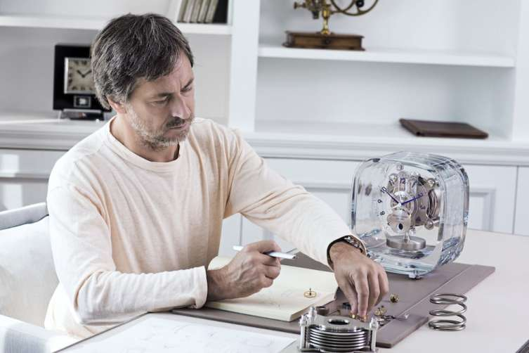 Marc Newson working on the Jaeger LeCoultre Atmos