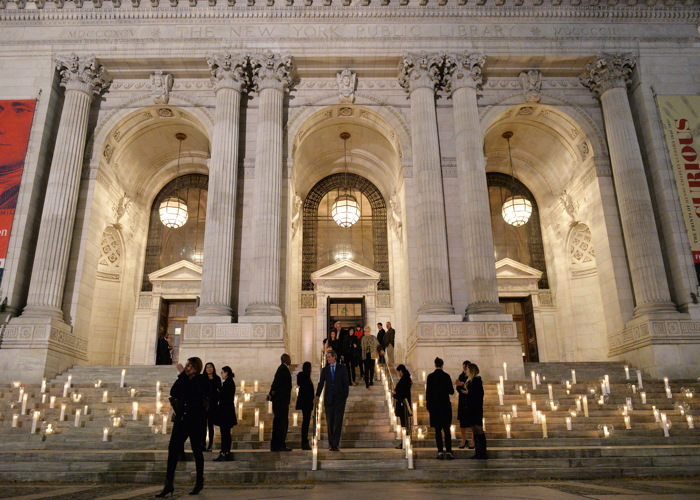 The entrance to the 42nd Street Library where David Monn celebrated the debut of his book with 600 friends.