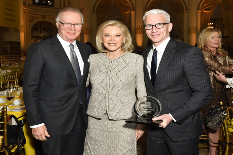 Chuck Scarborough, Audrey Gruss, Anderson Cooper== Hope for Depression Research Foundation 10th Annual Hope Luncheon Seminar== The Plaza Hotel, NYC== November 15, 2016== ©Patrick McMullan== Photo - Jared Siskin/PMC== == ==