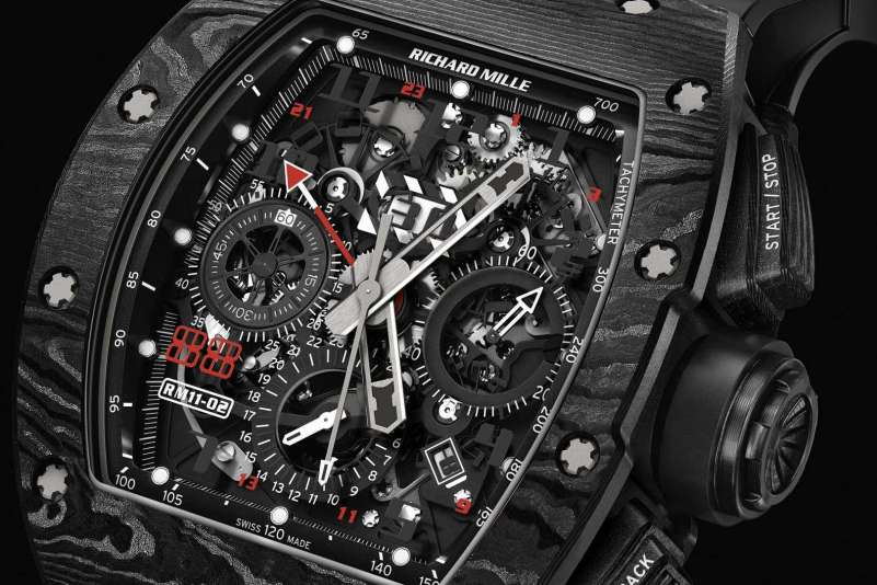 RICHARD MILLE RM 11-02 Automatic Flyback Chronograph Dual Time Zone Jet Black
