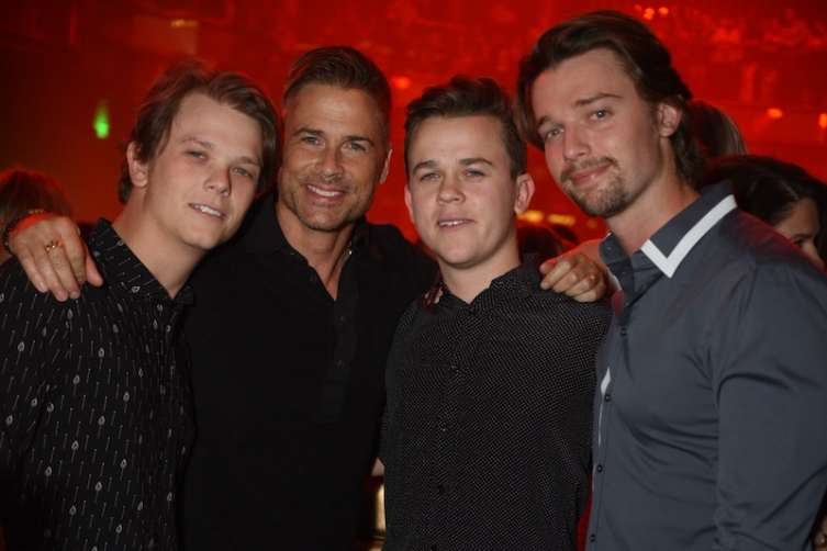 John Lowe and his father Rob Lowe celebrated John's 21st birthday at Omnia Nightclub with friends.