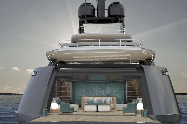 J.R. and Loren Ridinger's new superyacht from Rossinavi features two outdoor pools.