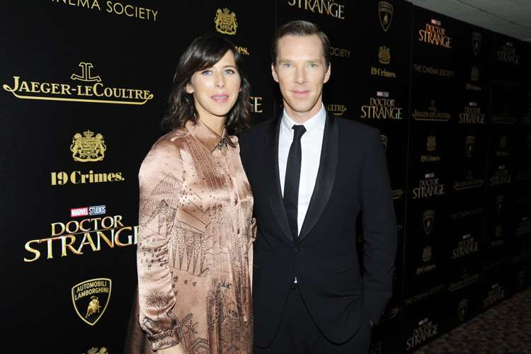"""NEW YORK, NY - NOVEMBER 1:  (L-R) Sophie Hunter and Benedict Cumberbatch attend the Lamborghini with The Cinema Society, Jaeger-LeCoultre & 19 Crimes Wines Host a Screening of Marvel Studios' """"Doctor Strange"""" at AMC Empire on November 1, 2016 in New York City. (Photo by Paul Bruinooge/Patrick McMullan via Getty Images) *** Local Caption *** Sophie Hunter;Benedict Cumberbatch"""