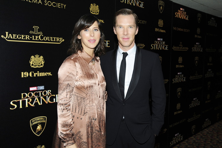 "NEW YORK, NY - NOVEMBER 1: (L-R) Sophie Hunter and Benedict Cumberbatch attend the Lamborghini with The Cinema Society, Jaeger-LeCoultre & 19 Crimes Wines Host a Screening of Marvel Studios' ""Doctor Strange"" at AMC Empire on November 1, 2016 in New York City. (Photo by Paul Bruinooge/Patrick McMullan via Getty Images) *** Local Caption *** Sophie Hunter;Benedict Cumberbatch"