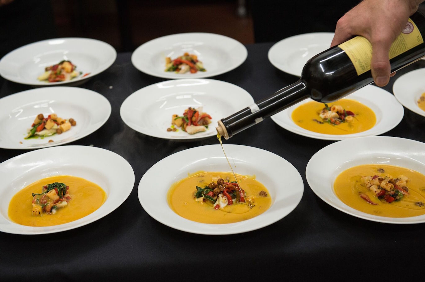 Plates being prepared at the 2015 Taste America event