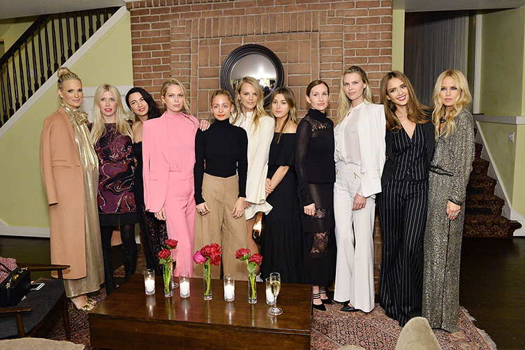 (L-R) Molly Sims, Shelley Gibbs, Shiva Rose, Nicole Richie, Kelly Sawyer, Jamie Schneider Mizrahi, Katherine Power, Sara Foster, Jessica Alba and Rachel Zoe attend The Zoe Report's Box of Style Winter Edition Dinner at Chateau Marmont
