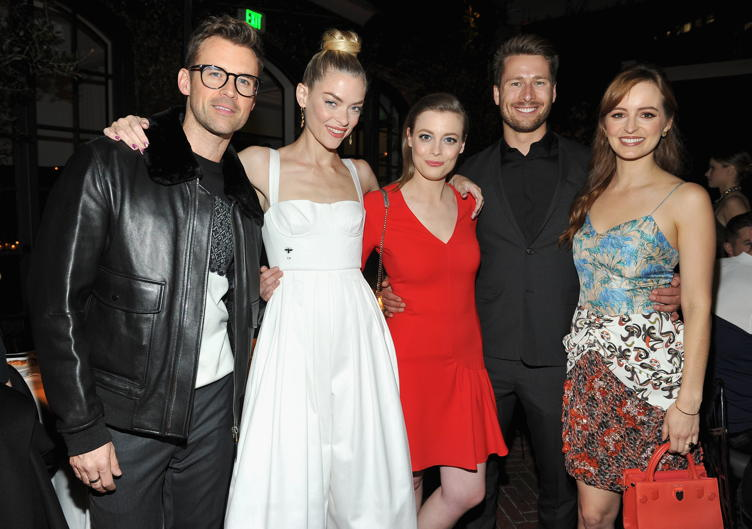 (L-R) Attendees Brad Goreski, actors Jaime King, Gillian Jacobs, Glen Powell and Ahna O'Reilly