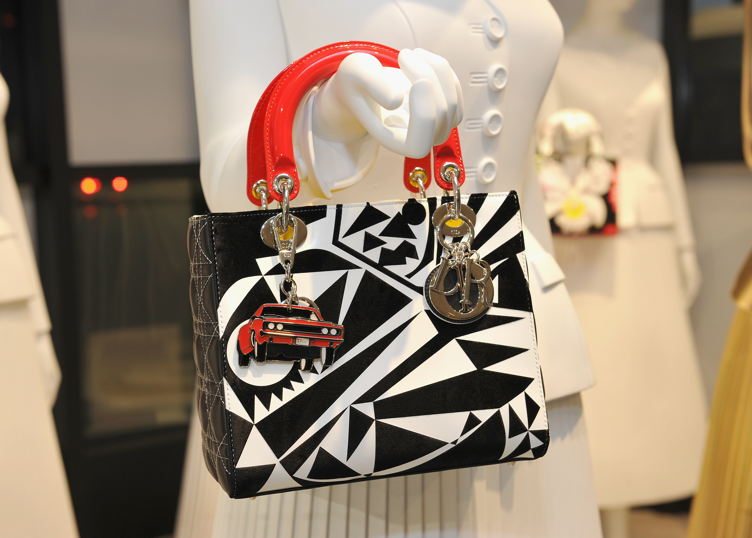 A close-up view of one of the seven artist-designed Dior Lady Art bags