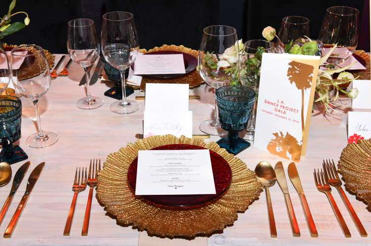 The dinnertime place setting at the 2016 Los Angeles Dance Project Gala