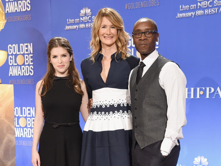 Actors Anna Kendrick, Laura Dern and Don Cheadle announce the Golden Globe Awards in conjunction with Moet Chandon toast the 74th Annual Golden Globe Awards nominations on December 12, 2016 in Los Angeles