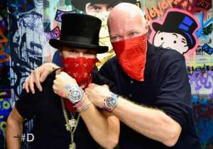 Alec Monopoly (right) with TAG Heuer CEO Jean-Claude Biver on the occasion of Alex Monopoly's appointment as the brand's Art Provocateur.