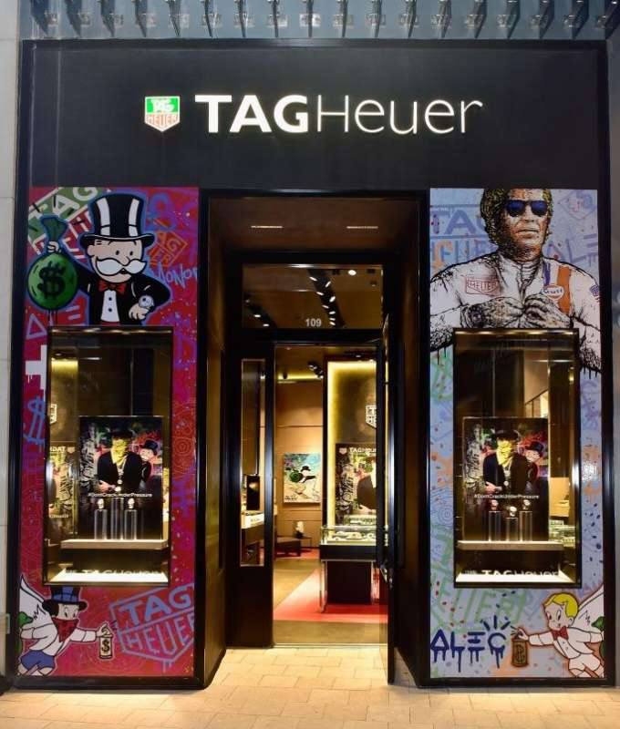 The facade of Tag Heuer's Miami boutique got a graffiti uplift by Alec Monopoly.