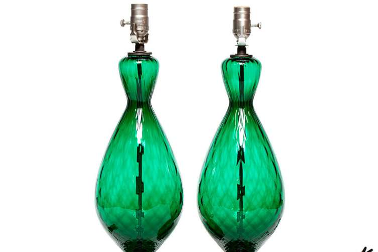 Mid-Century Green Glass Lamps, Jay Jeffers The Store