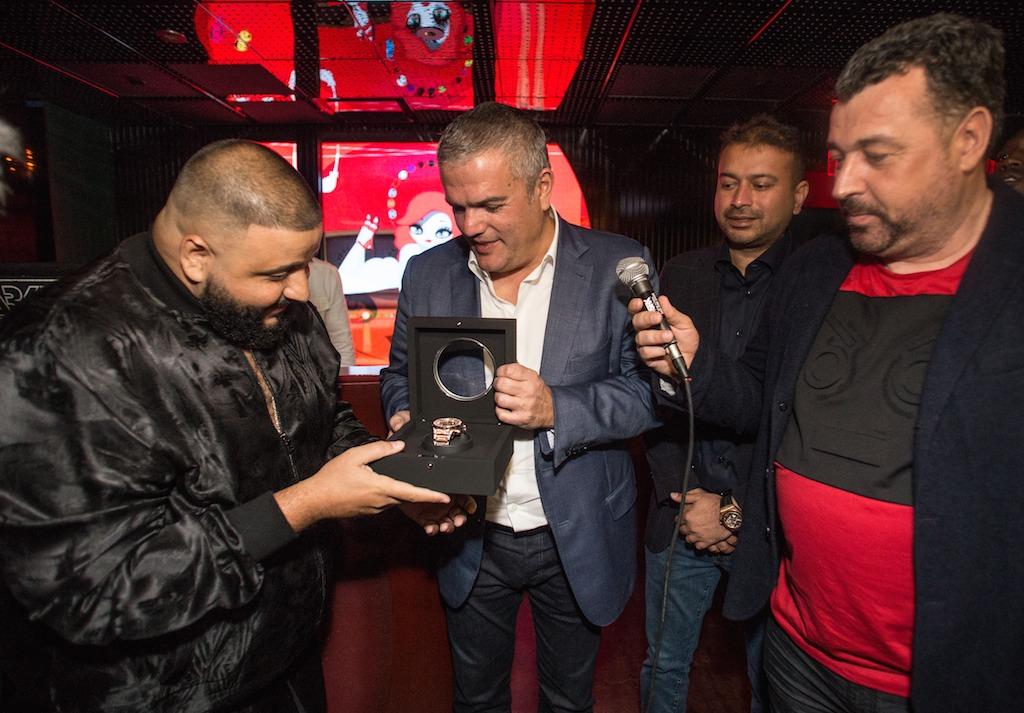 Ricardo Guadalupe presenting timepiece to DJ Khaled