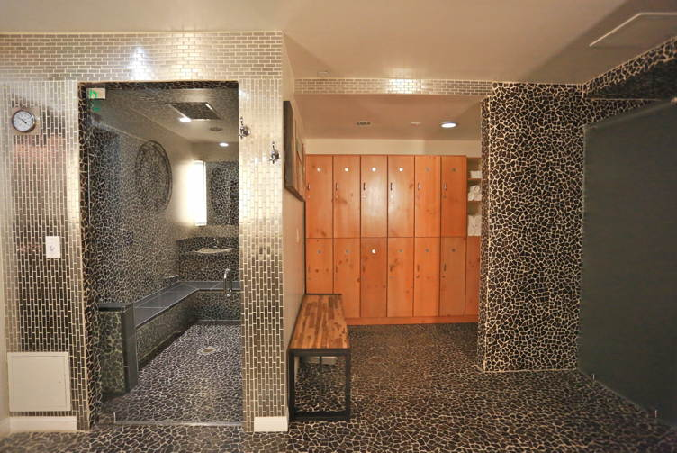 Men's steam room and lockers