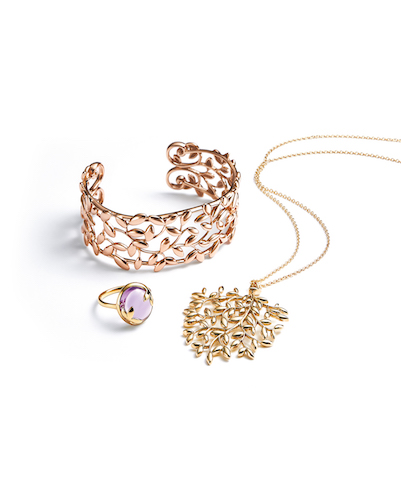 Paloma Picasso Olive Leaf Cuff in 18k Rose Gold, Pendant in 18k Gold, and Ring in 18k Gold with an Amethyst $7,500, $3,300, $1,000