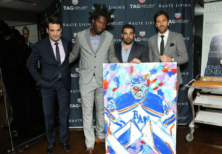 Killian Muller, artist Bradley Theodore, Haute Living co-founder Seth Semilof and Henrik Lundqvist
