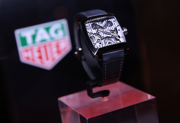 A view of a TAG Heuer watch on display