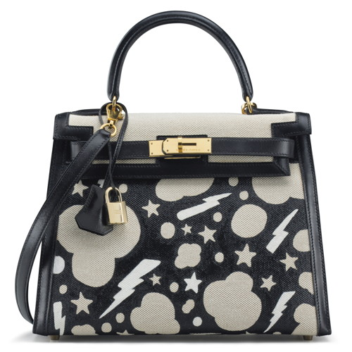 CUSTOMIZED BLACK CALFBOX LEATHER & TOILE SELLIER KELLY 28 BAG (2)