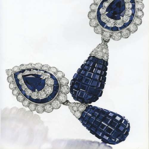 REA PAIR OF 'MYSTERY-SET' SAPPHIRE AND DIAMOND EAR PENDANTS, BY VAN CLEEF & ARPELS 53685469c_fig