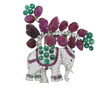 EAN ART DECO RUBY, EMERALD AND DIAMOND ELEPHANT BROOCH, BY RENÉ BOIVIN 53752352