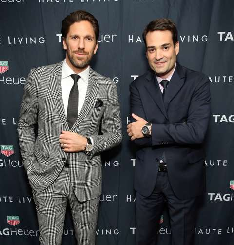 NEW YORK, NY - DECEMBER 05: Henrik Lundqvist (L) and Kilian Muller attend the Haute Living Celebrates New York Cover Launch with Henrik Lundqvist and TAG Heuer at Mr. Chow on December 5, 2016 in New York City. (Photo by Monica Schipper/Getty Images for Haute Living)