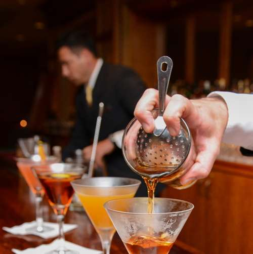 Cocktails being prepared at the Waldorf Astoria New York