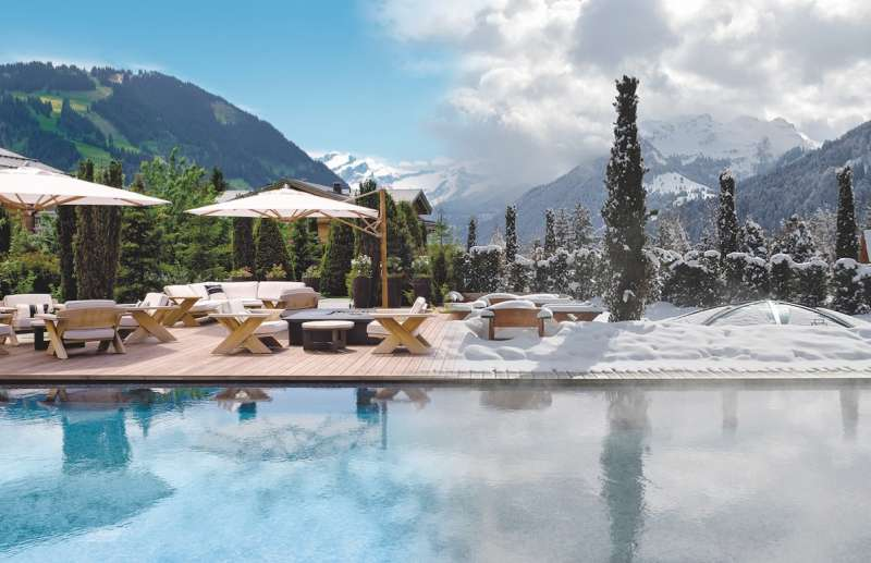 The outdoor summer-winter pool at the Alpina Gstaad.