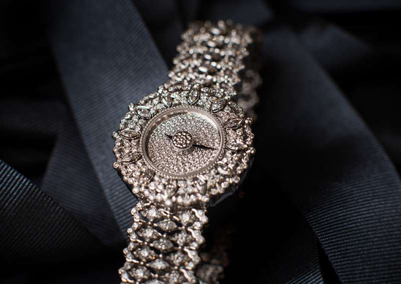Buccellati Eliqo Marquise diamond and white gold watch.