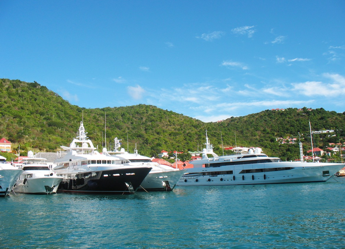 Mega yachts in Gustavia Harbor