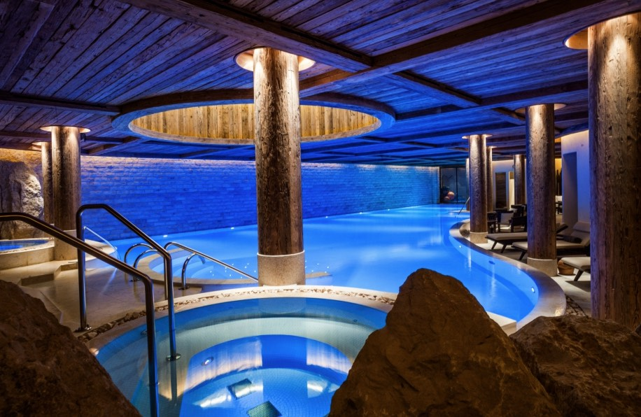 Indoor pools at The Alpina Gstaad's Six Senses Spa