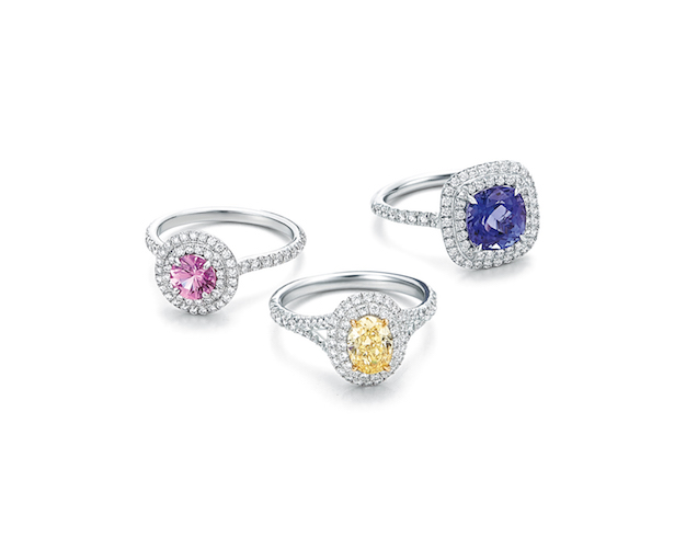 Tiffany Soleste Rings with an Oval Tiffany Yellow Diamond, Cushion-Cut Tamzamite and round Pink Sapphire in Platinum with Diamonds $7,500, $9,000