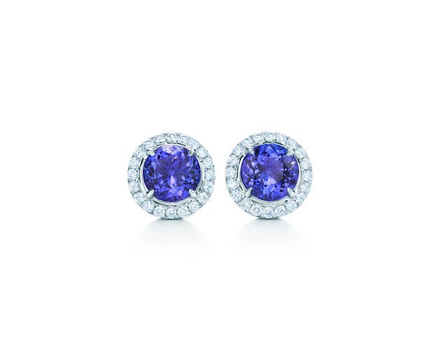 Tiffany Soleste Earrings in Platinum with Tamzamites and Diamonds $6,000