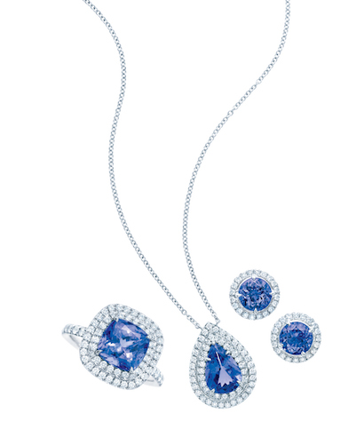 Tiffany Soleste with Tamzamite and Diamonds in Platinum (from left) Ring, Pendant, Earrings $9,000, $7,300, $6,000