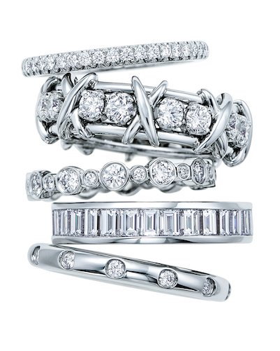 Band Rings in Platinum with Diamonds, from top: Tiffany Soleste, Tiffany & Co. Schlumberger Sixteen Stone, Tiffany Jazz, Channel Set, and Tiffany Bezet