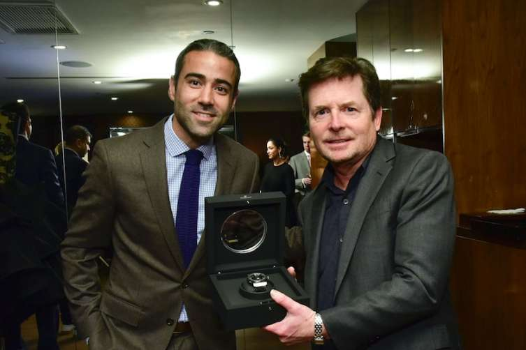 Jean-Francois Sberro, Managing Director of Hublot North America presents Fox with Hublot Classic Fusion